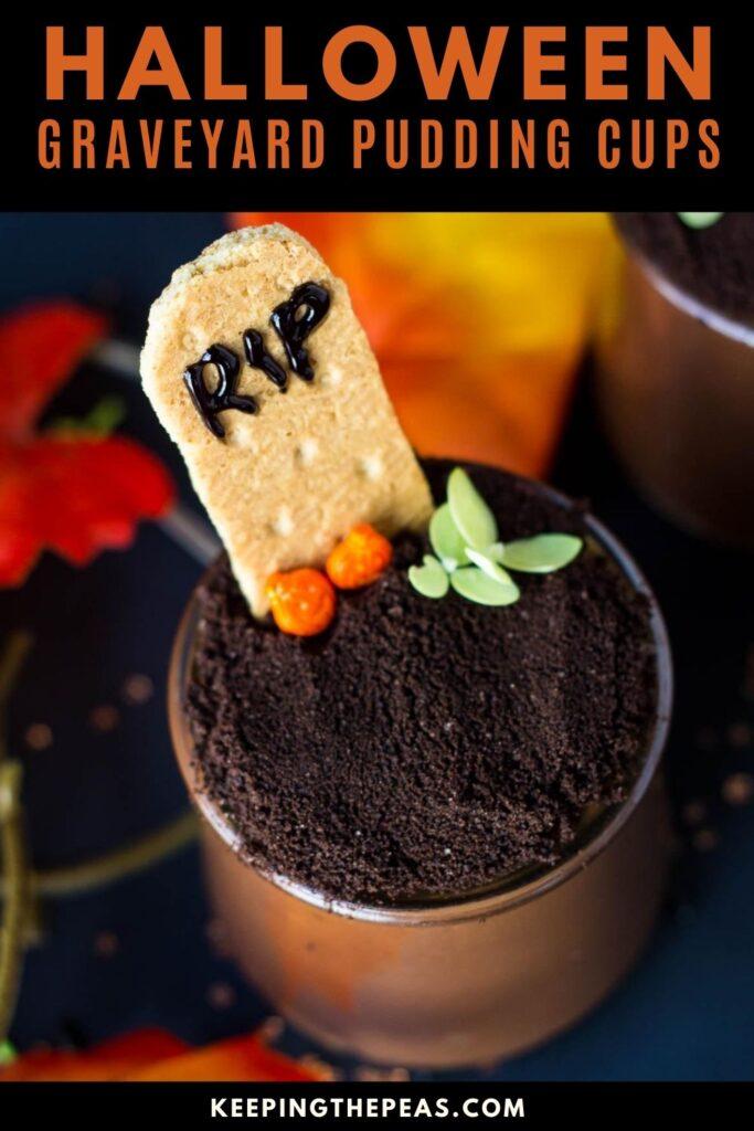 vegan halloween recipes: graveyard pudding cups