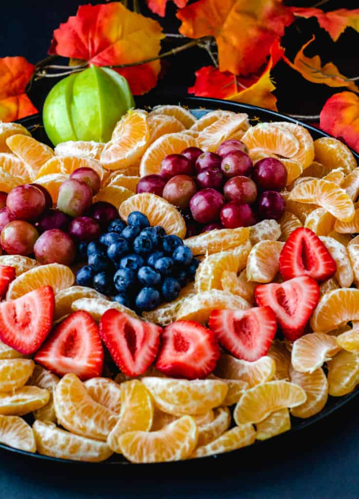 pumpkin fruit tray with oranges