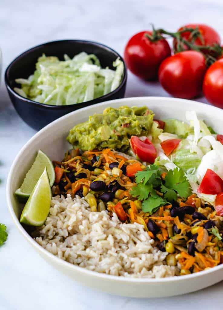 vegan burrito bowl with mixed vegetables