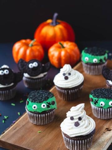 vegan halloween cupcakes a ghost, monster, and bat