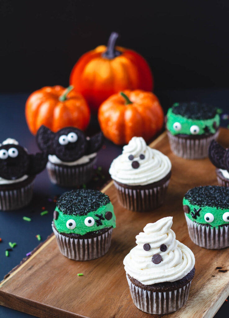 vegan halloween cupcakes a ghost, monster, and bat