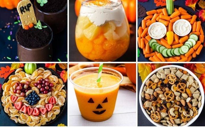 a collage of vegan halloween recipes: graveyard pudding, candy corn parfait, pumpkin veggie tray, pumpkin fruit tray, jack-o-lantern smoothie, Halloween trail mix