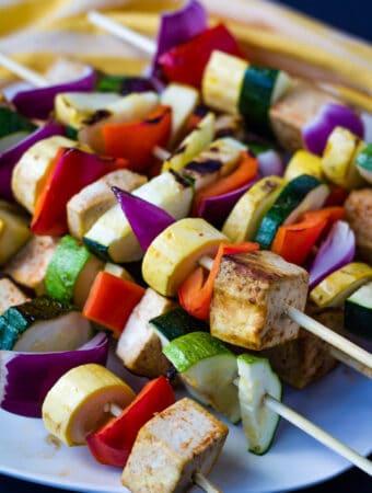 vegan kebab skewers with tofu and vegetables