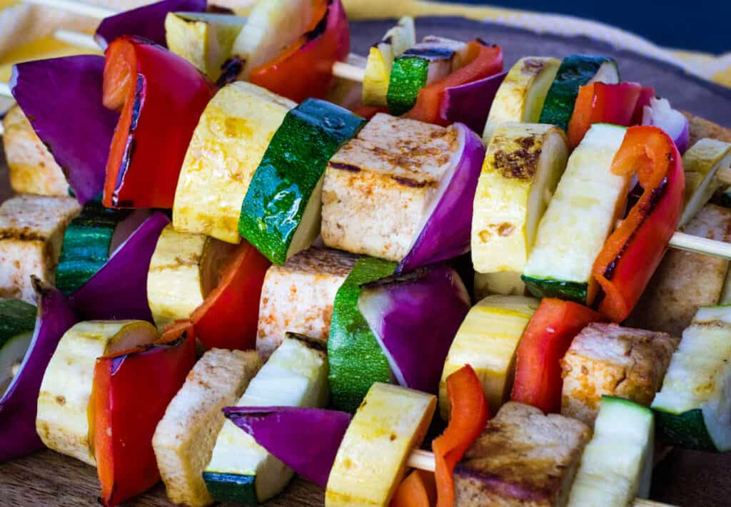 tofu and vegetable kebabs close up