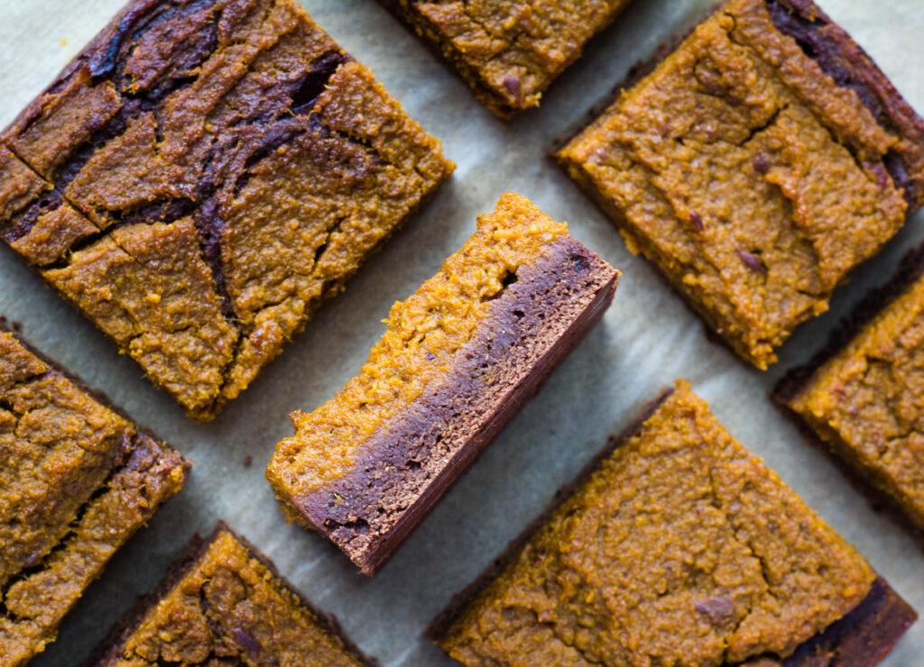 vegan pumpkin brownies one stacked on its side