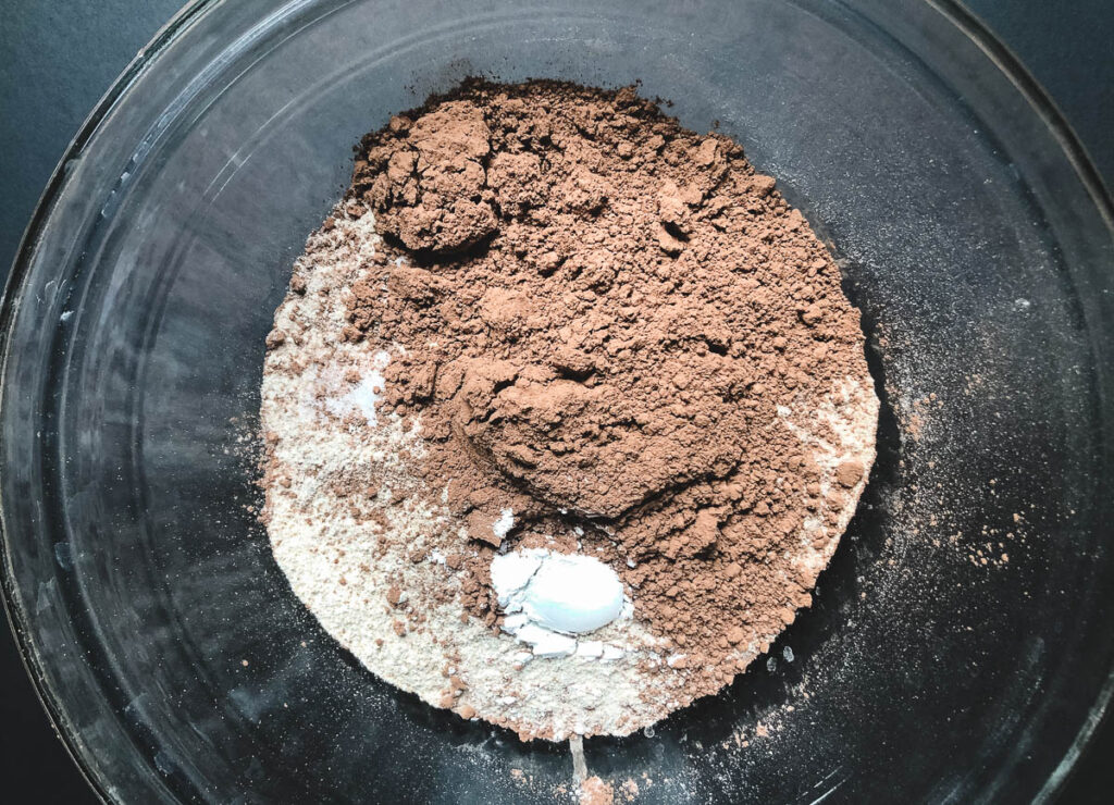 brownie dry ingredients in mixing bowl