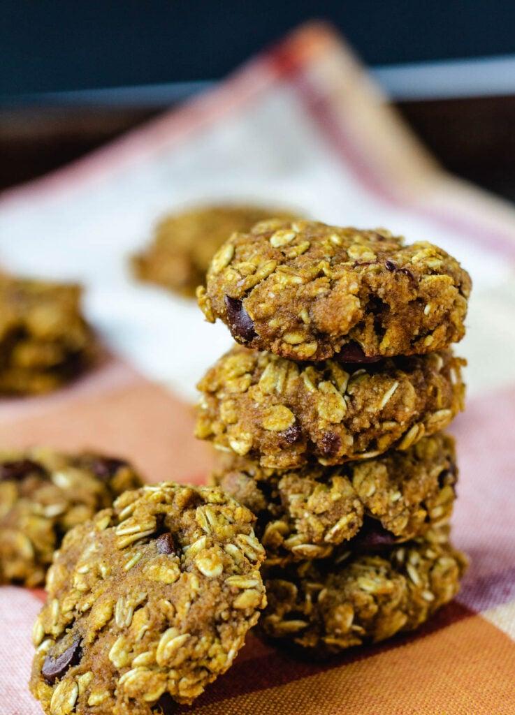 stack of vegan pumpkin chocolate chip cookies