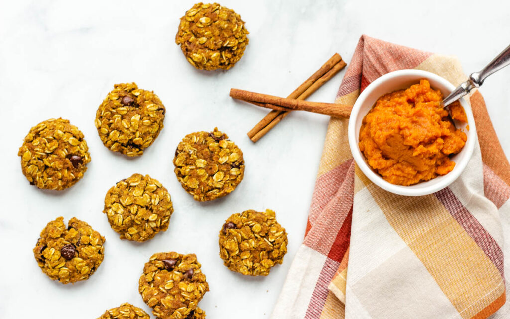 pumpkin chocolate chip cookies overhead