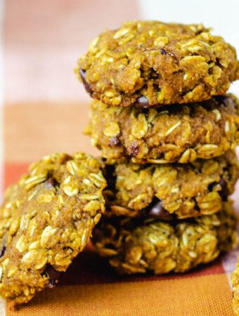 vegan pumpkin chocolate chip cookies stacked