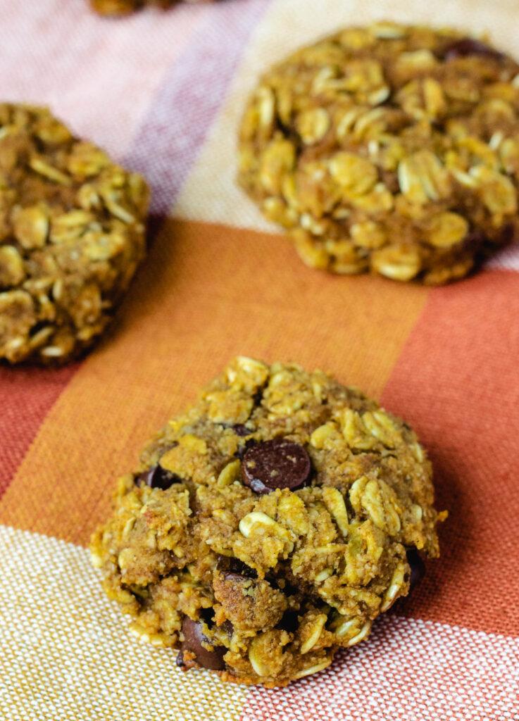 vegan pumpkin chocolate chip cookie close up