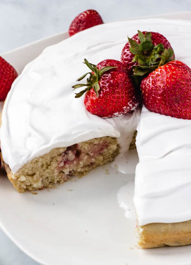 cake topped with strawberries