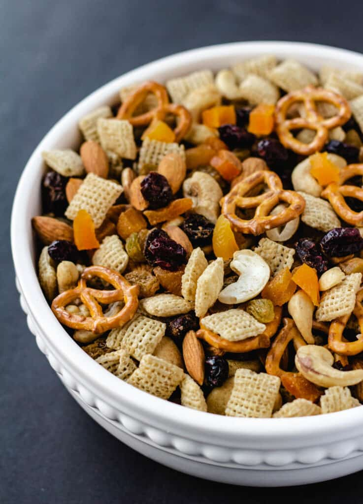 harvest snack mix with pretzels and dried fruit