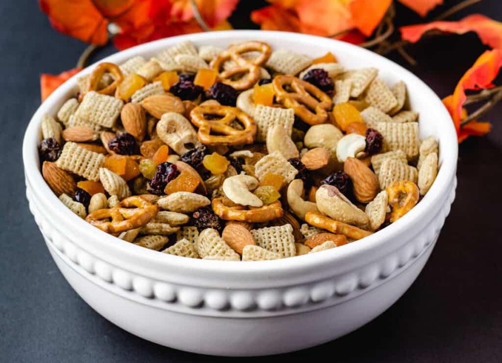 vegan trail mix in white bowl