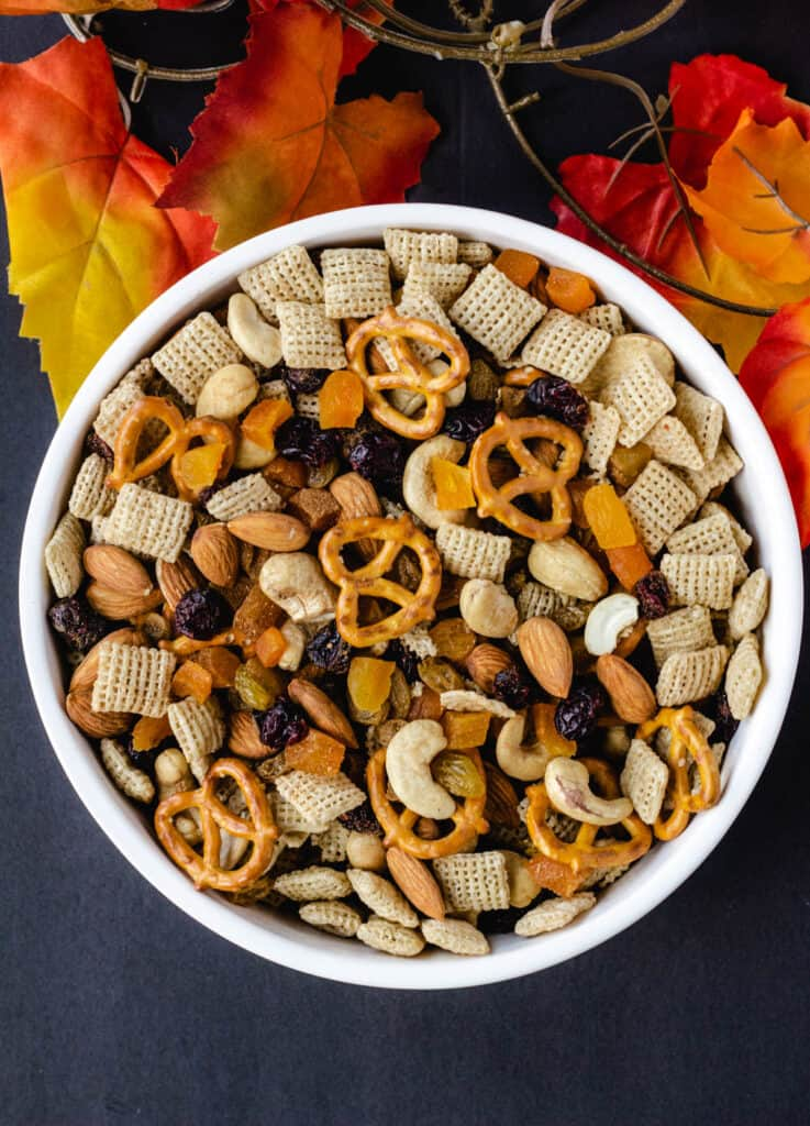 overhead of harvest vegan trail mix in white bowl