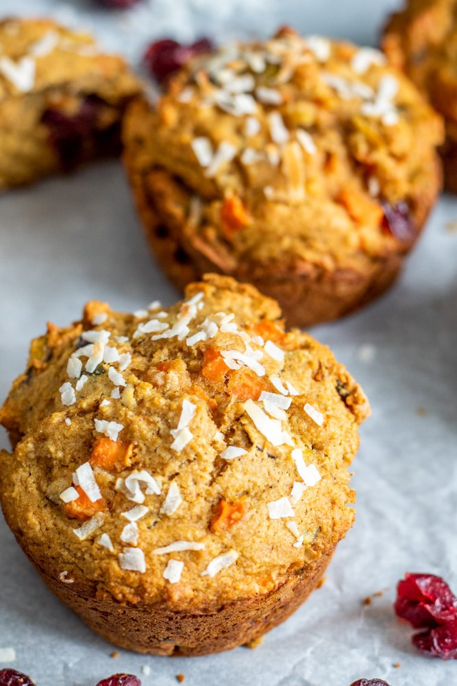 close up morning glory vegan muffins with coconut and dried fruit