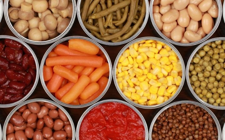 overhead shot of canned beans and vegetables