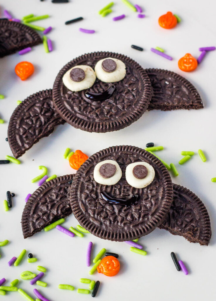 oreo cookie bats on white plate