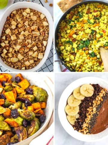 plant-based breakfast ideas collage
