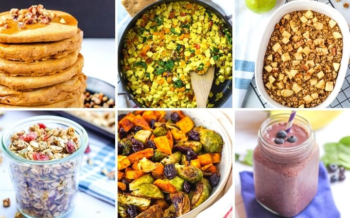 collage of plant-based breakfast ideas