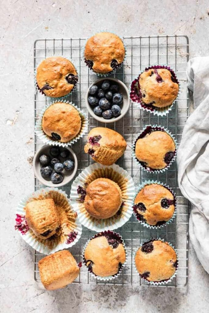 blueberry vegan muffins on cooling rack
