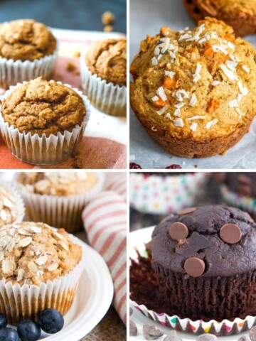 vegan muffins collage