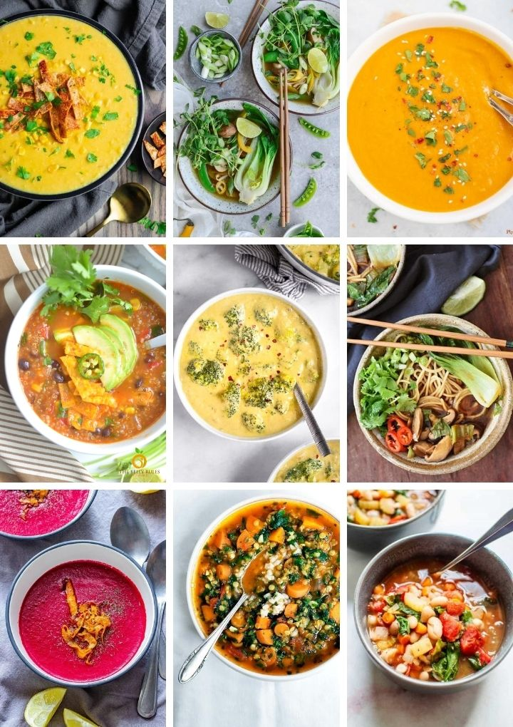 collage of vegan soup recipes including noodle, creamy carrot, corn, tortilla soups