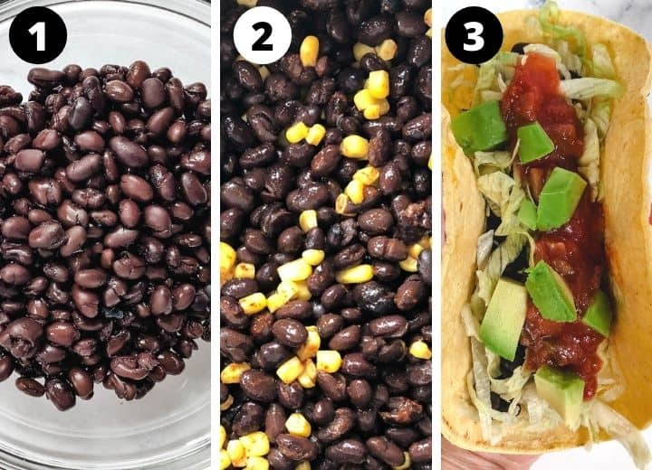 black beans, black beans with corn, black bean taco topped with avocado