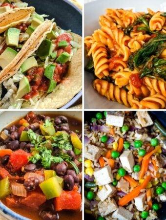 lazy vegan recipes collage