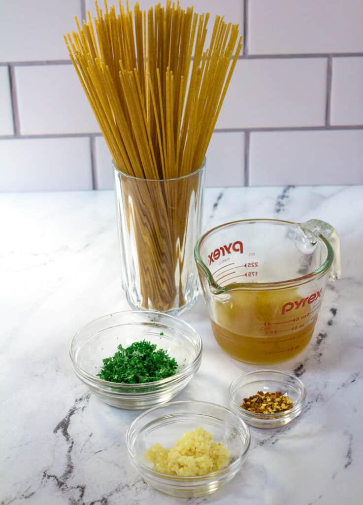 whole wheat pasta, vegetable stock, parsley, red pepper flakes, garlic