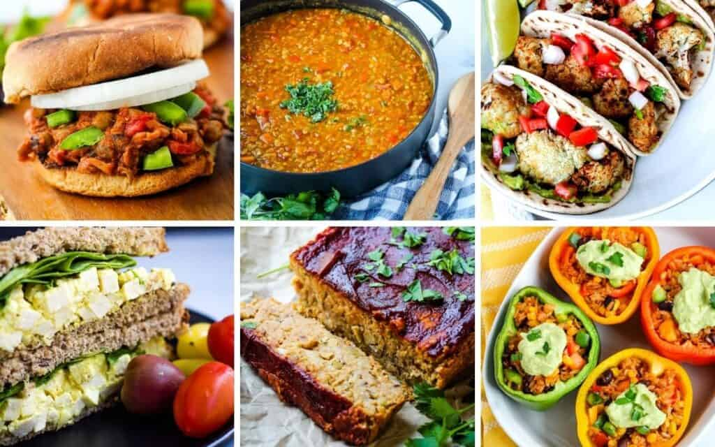 plant-based recipes collage
