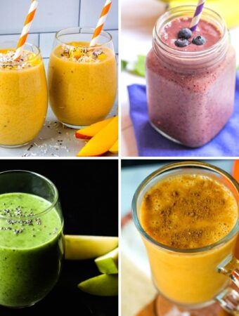 plant-based smoothies collage