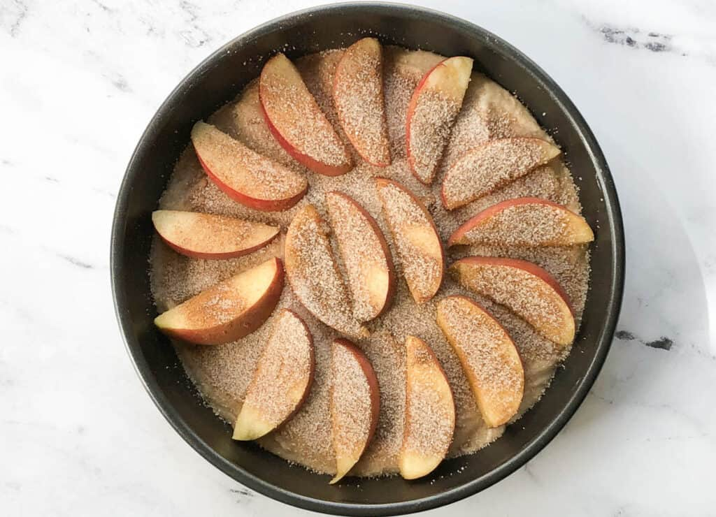apples and cinnamon on top of cake batter in cake pan