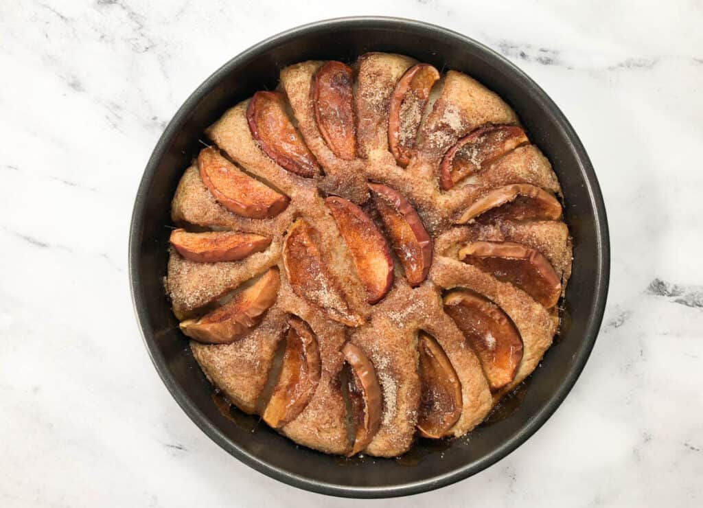baked vegan apple cake out of the oven in pan