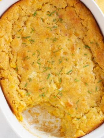 vegan corn casserole in baking dish