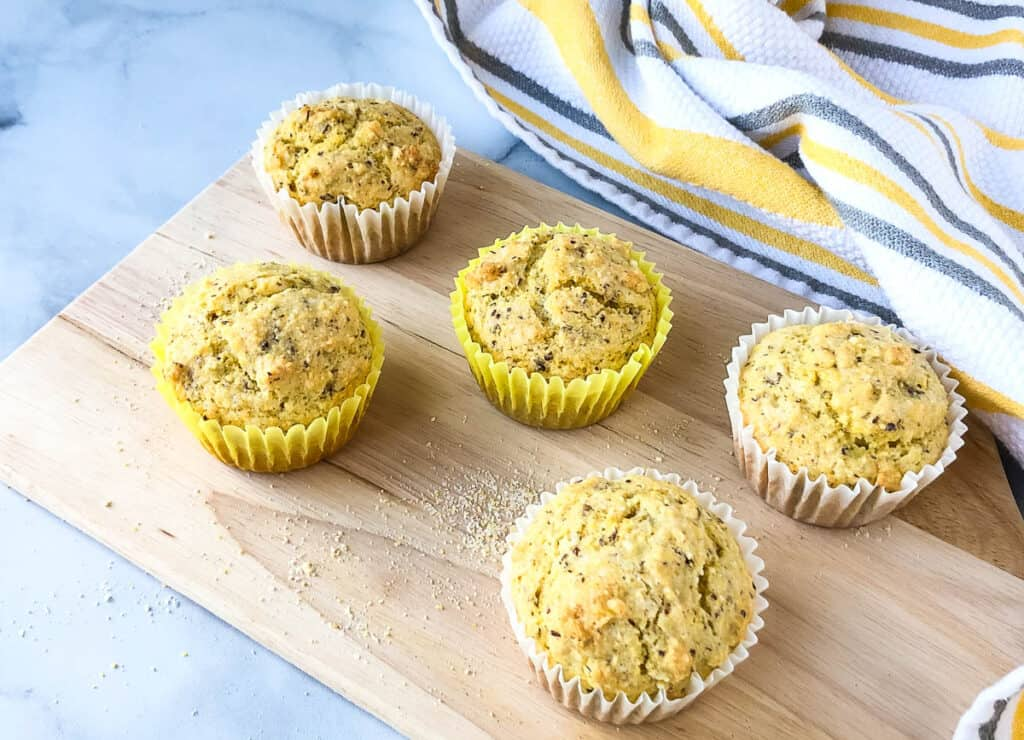 cornbread muffins on serving tray