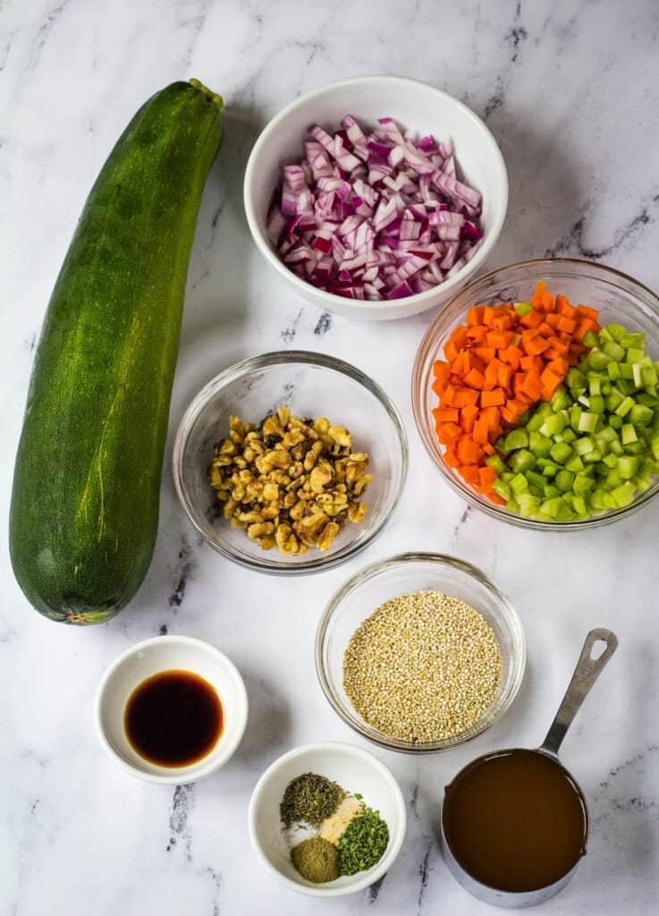 zucchini, walnuts, veggies, quinoa, and spices