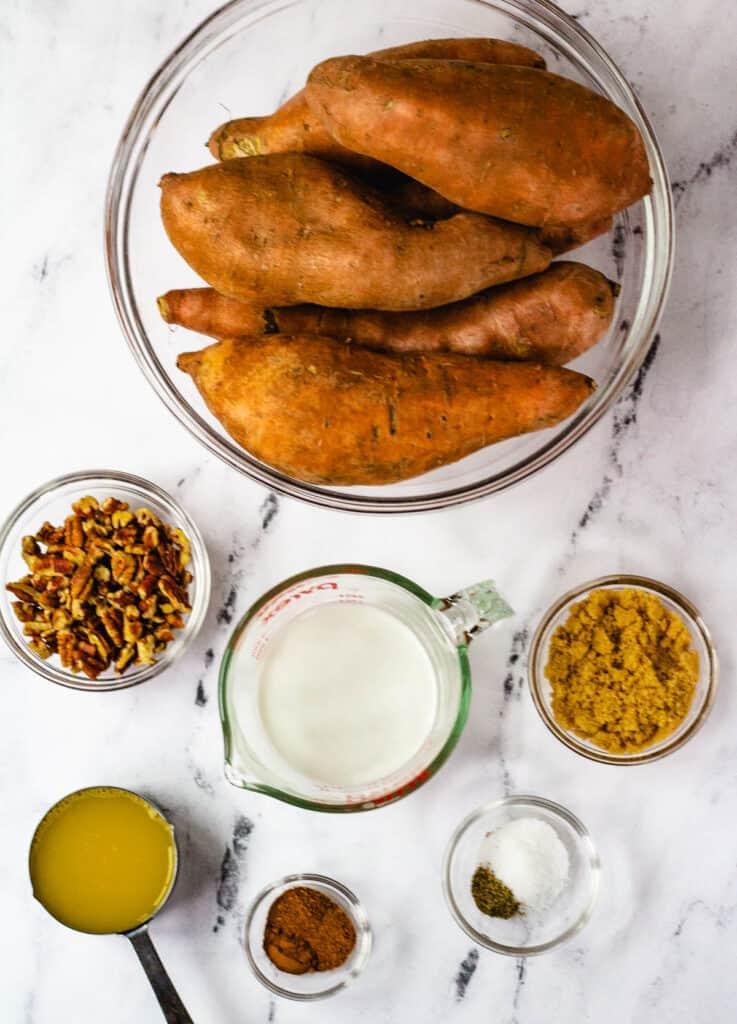 sweet potatoes, pecans, coconut milk, sugar, orange juice, spices