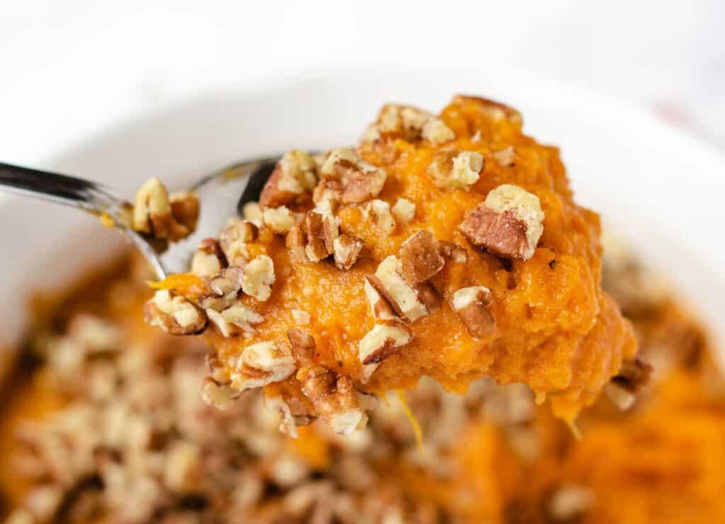 spoon of vegan sweet potato casserole