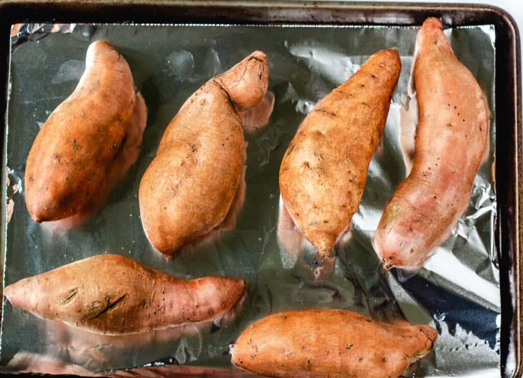 sweet potatoes on tray