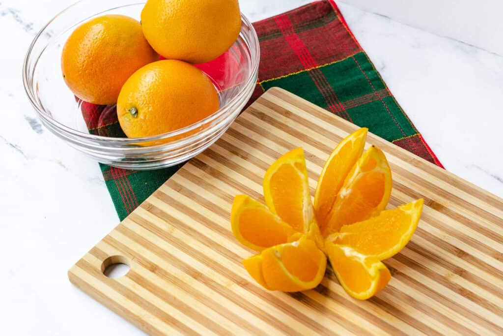 oranges sliced into 8 pieces