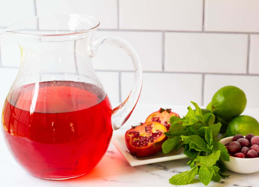 cranberry juice and club soda in pitcher