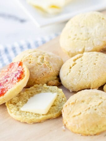 dairy free biscuits on wood serving platter