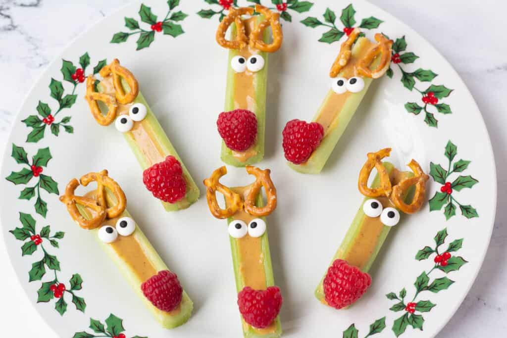 reindeer celery snacks on a holiday plate