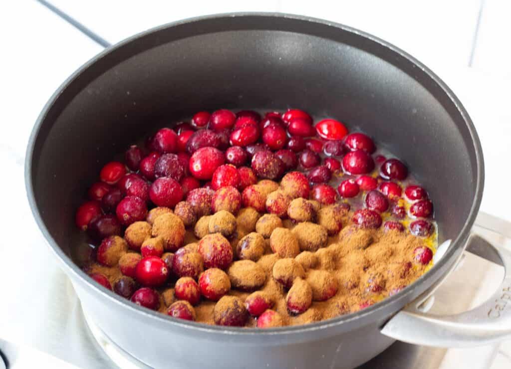 cranberries and cinnamon in pot