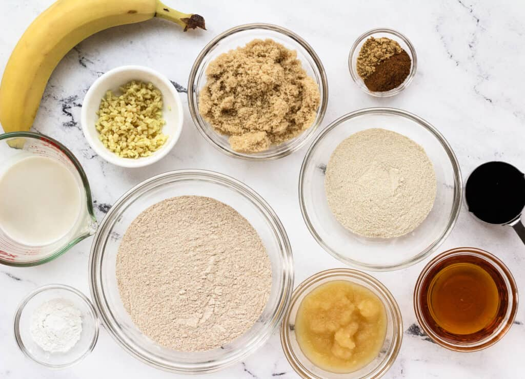 vegan ginger cake ingredients in individual bowls