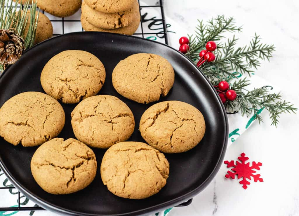 holiday ginger cookies on black plate
