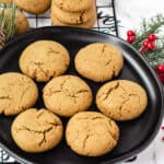 vegan ginger cookies on black plate