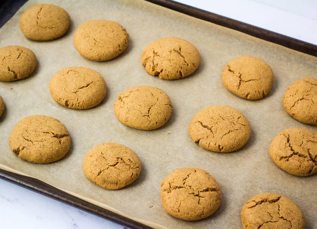 baked vegan ginger cookies on baking sheet