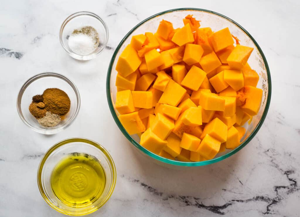 butternut squash, salt and pepper, spices, olive oil