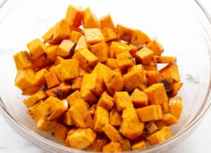 butternut squash tossed with spices